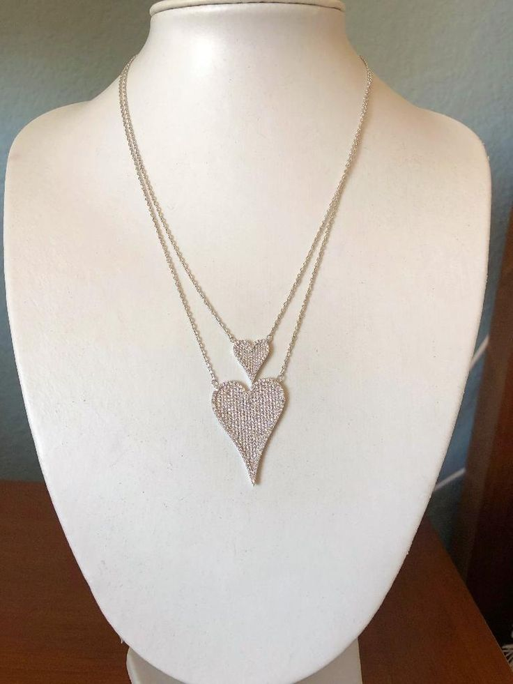 Modern French Pave Rose Gold Double Diamond Heart Necklace