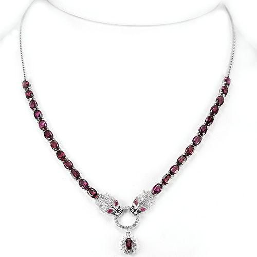 Natural 22TCW Oval Cut Red Ruby & Pink Sapphire Jaguar Necklace