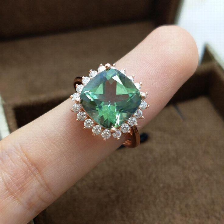 Natural 4.6CT Cushion Cut Green Topaz Halo Ring