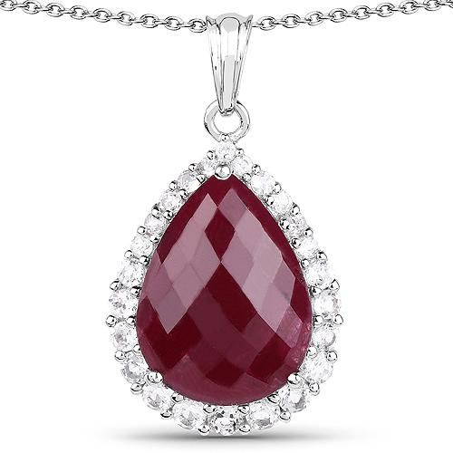 Pear Cut 18.46CT Red Ruby with White Topaz Halo Pendant Necklace