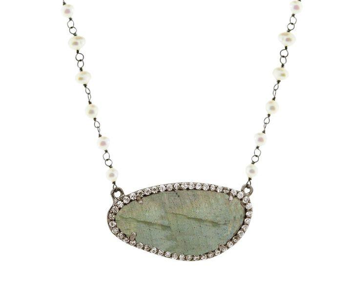 Pearls & Labradorite Slice Necklace