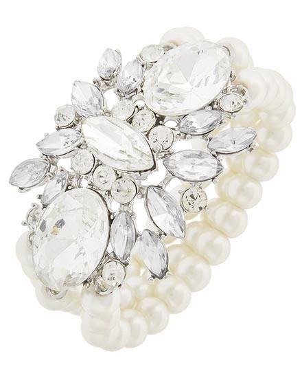 SALE Nina Rhinestone and Pearl Bridal Prom Bracelet