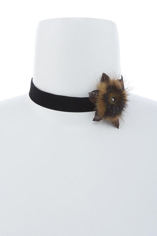 Sale Furry Floral Velvet Black Choker Necklace
