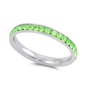The Classic 2TCW Round Cut Green Peridot Russian Lab Diamond Wedding Band Eterni...