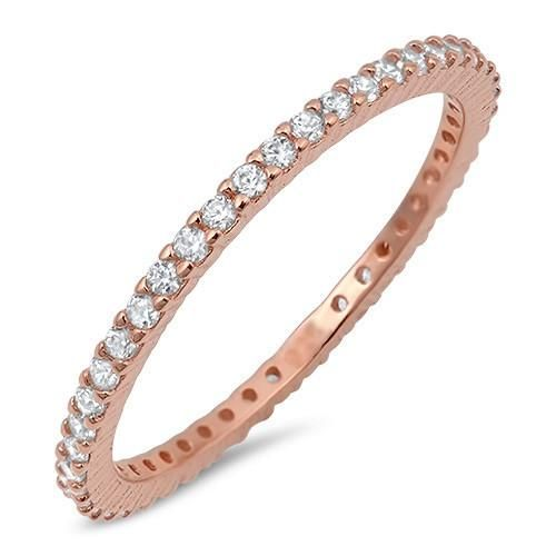 The Darling 14K Rose Gold 2TCW Micro Pave Russian Lab Diamond Wedding Band Stack...