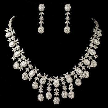 Vintage Floral Necklace & Earring Bridal Wedding Set