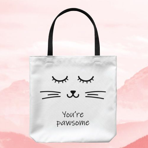 You Are Pawsome Cat Tote Bag. Cute gifts for girls. (Inexpensive Christmas Gifts...