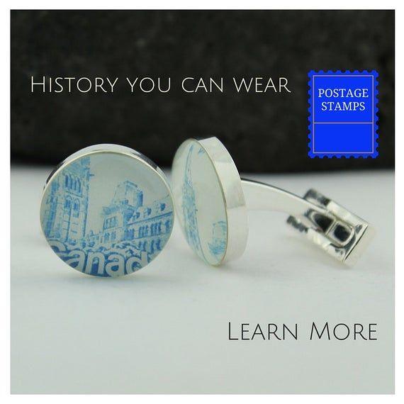 CANADA CUFFLINKS. Handmade Blue Cufflinks for Men Featuring Vintage Canada Stamp...