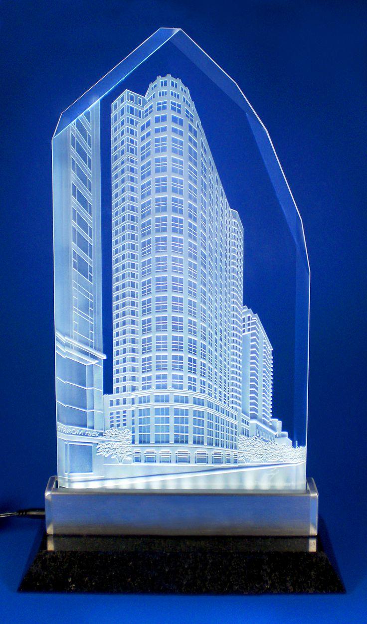 Corporate Awards - Custom Engraved Building  Crystal Engraving, Laser Engraving,...