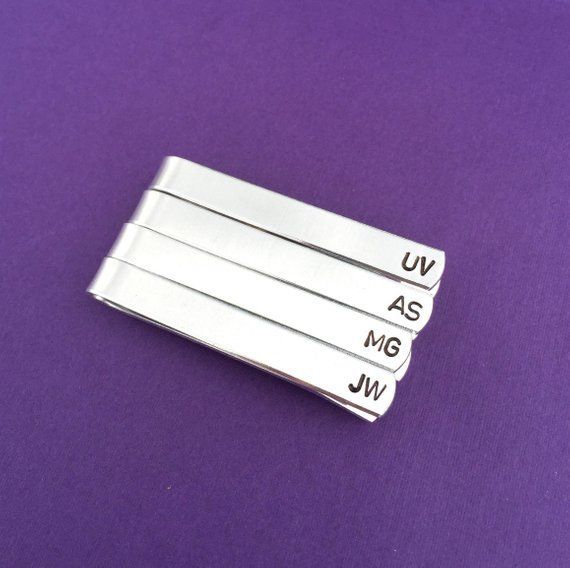 Corporate Gifts Ideas : SET OF 4  Hand Stamped Tie Clip Corporate Gift Personali...