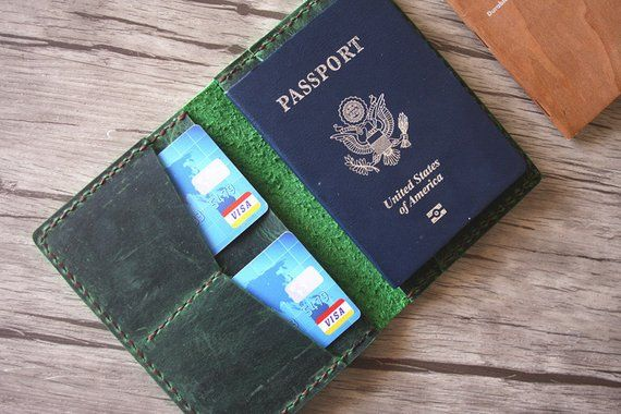 Distressed Green Leather Passport Covers Wallet, Personalized Passport Case Trav...