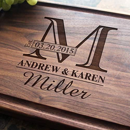 Monogram Personalized Engraved Cutting Board- Wedding Gift, Anniversar – Burgh...