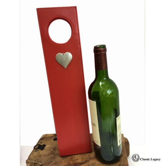 Red Wine Carrier Silver Hammered Heart