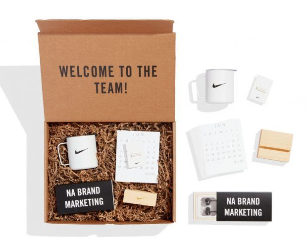 This kraft box welcomes team members to the North America Brand Marketing team. ...