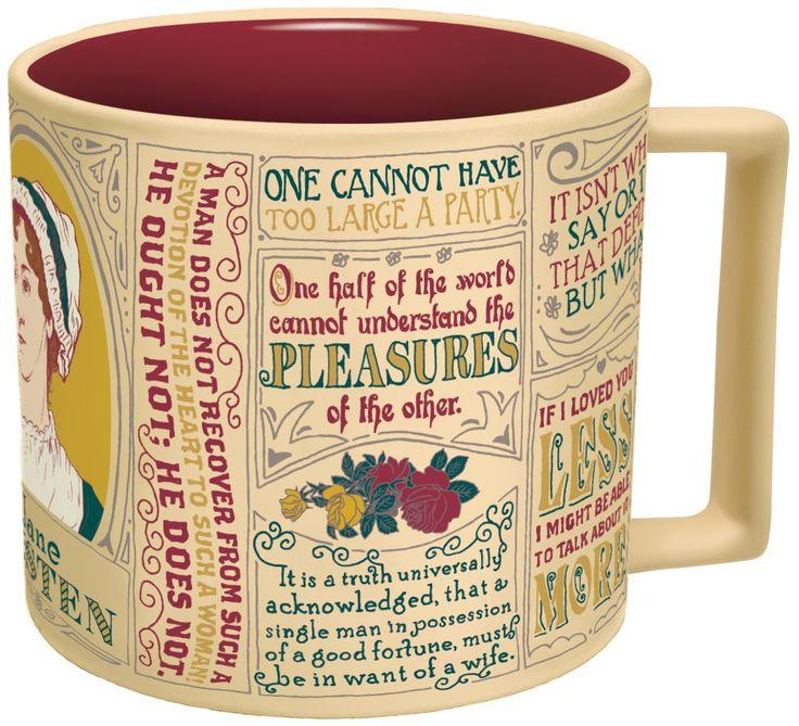 Amazon.com: Jane Austen Coffee Mug - Austen's Most Famous Quotes and Depictions ...