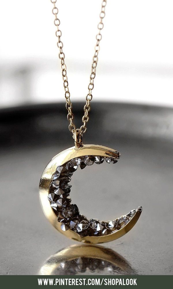 Celestial Jewelry Gold Crescent Moon Pendant Necklace for her #afflink #necklace...