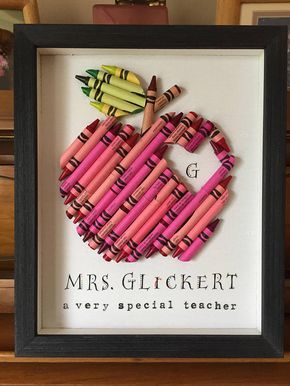 Crayon Apple Teacher Gift, Framed Crayon Personalized Apple, Heart, Custom Teach...