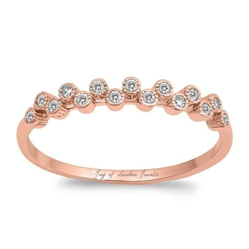 14K Rose Gold .48TCW Russian Lab Diamond Wedding Band Ring