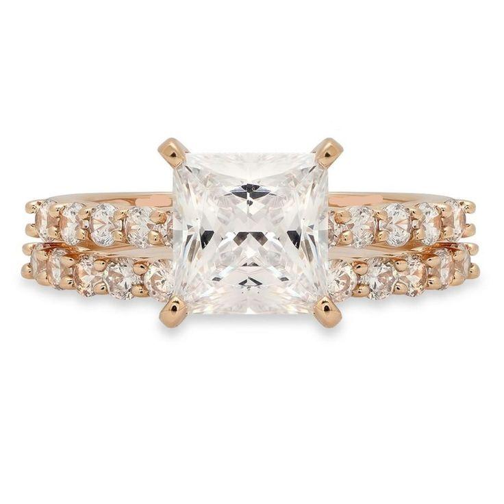 14K Rose Gold 2CT Princess Cut Halo Russian Lab Diamond Bridal Set