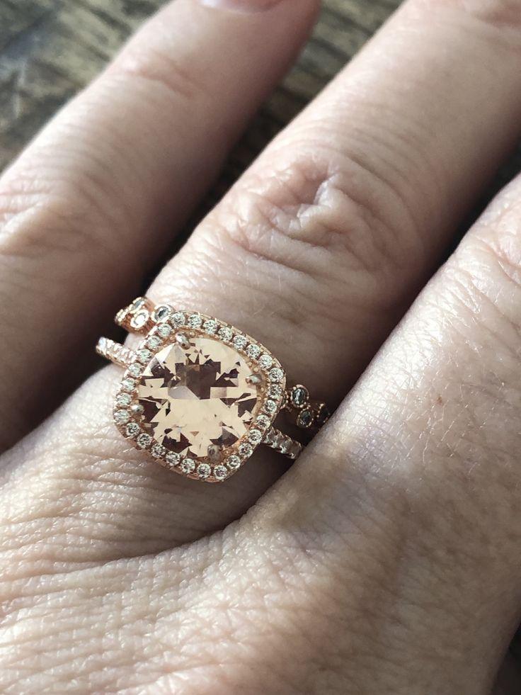 14K Rose Gold 3.2CT Round Cut Pink Morganite Russian Lab Diamond Halo Bridal Set