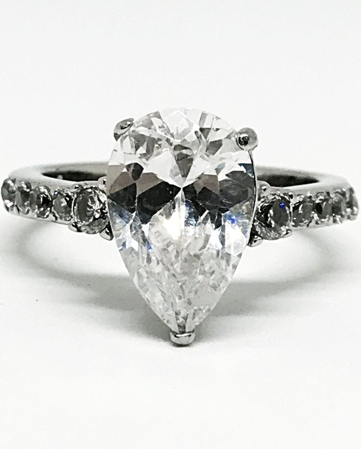 A Flawless 2.4CT Pear Cut Solitaire Russian Lab Diamond Engagement Ring
