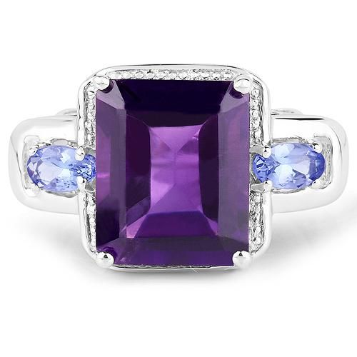 A Natural 4.65CT Emerald Cut Purple Amethyst Halo Oval Cut Tanzanite Ring