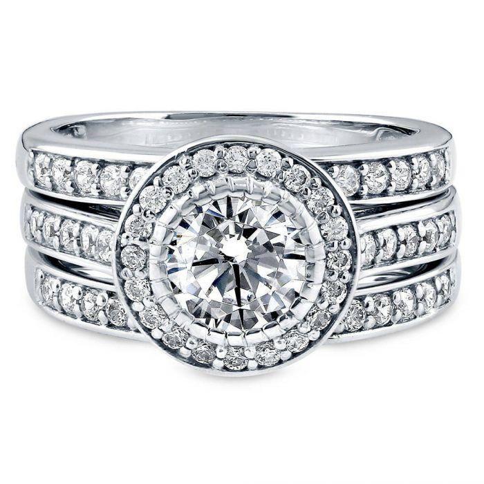 A Perfect 1.3CT Round Cut Halo Russian Lab Diamond Stacking Bridal Set