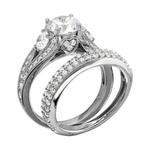 A Perfect 1.8CT Round Cut Russian Lab Diamond Bridal Set