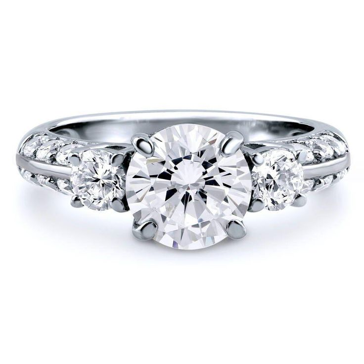 A Stunning 2CT Round Cut Russian Lab Diamond Journey Engagement Ring