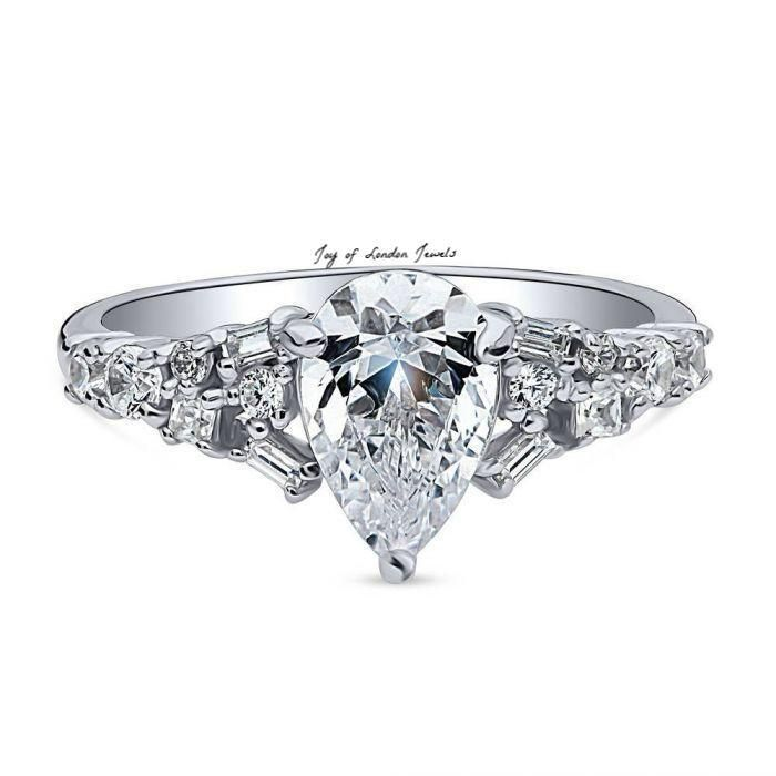 Flawless Modern 1.5CT Pear Cut Solitaire Russian Lab Diamond Engagement Ring