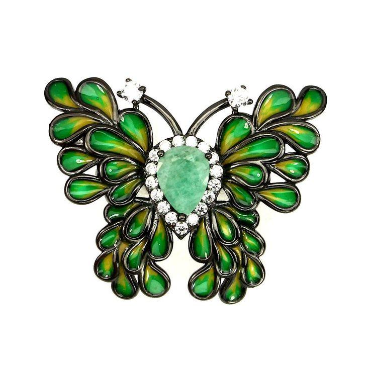 Green Emerald Handpainted Enamel Art Deco Butterfly Ring Size 7