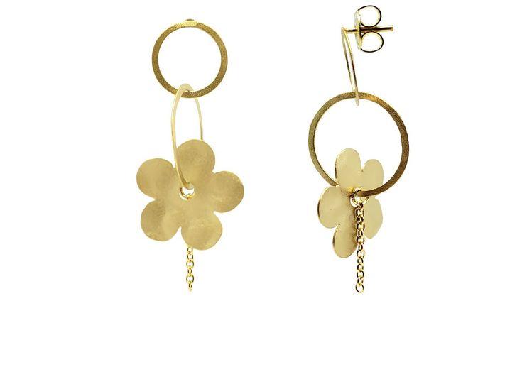 Hammered Flower & Chain Earrings
