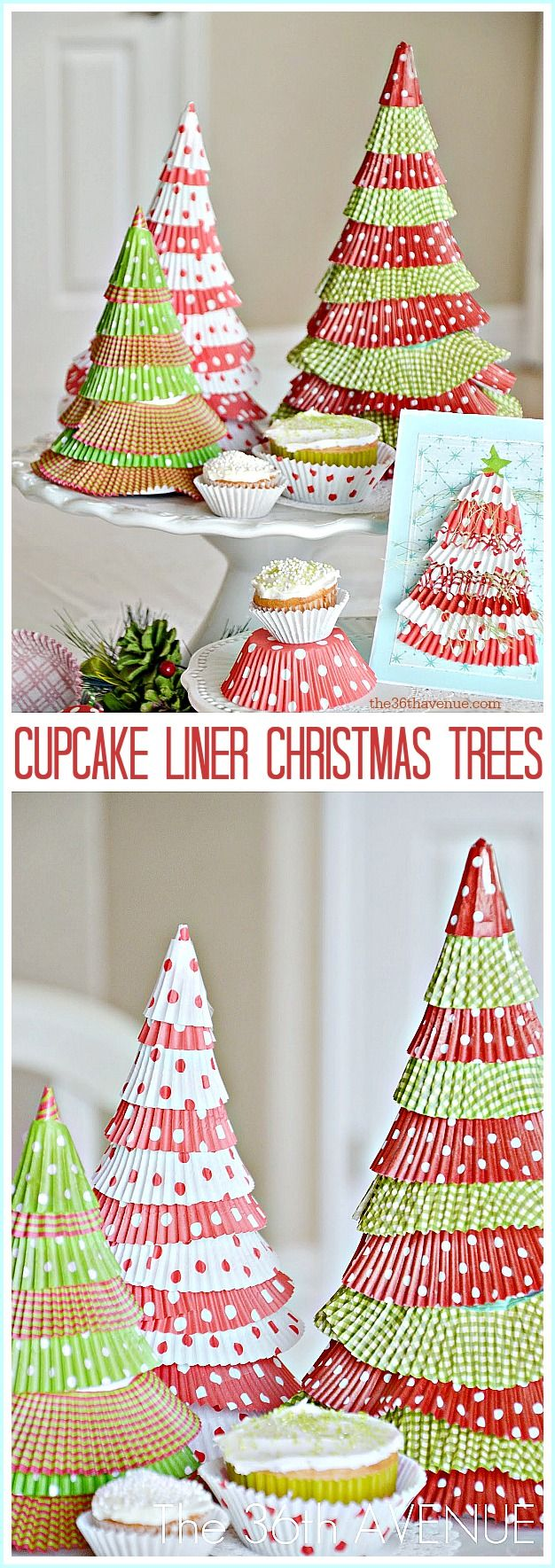 These easy DIY Cupcake Liner Christmas Trees are so cheap and  easy, you'll be...