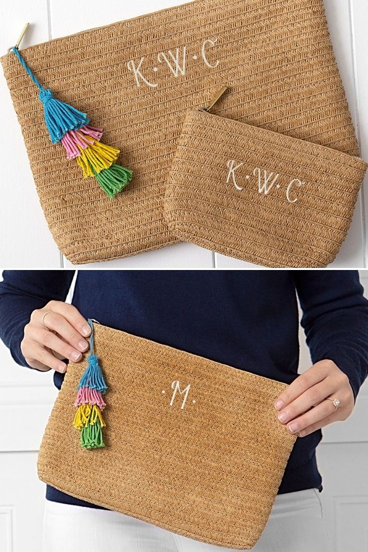Bridesmaid Gift Idea - This summery women's 2-piece straw clutch set feature...