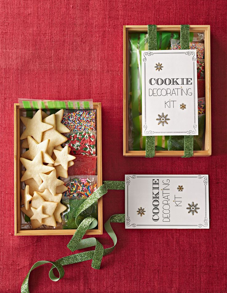 Fill a box with cutout cookies, sprinkles, sanding sugars, and small candies. Pa...