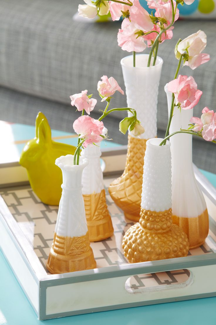 Start at the thrift store, end at the craft table. Milk glass vases are an inexp...