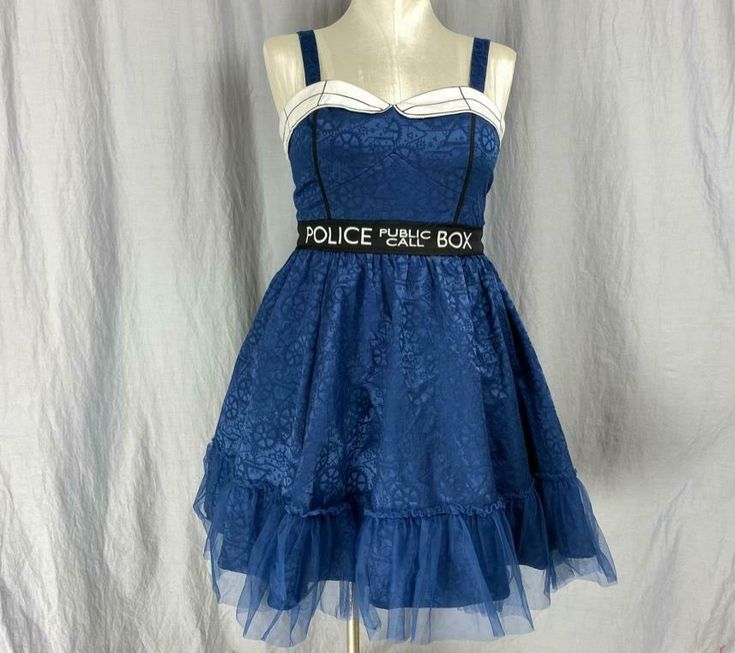Hot Topic Doctor Who Tardis Dress Women's XL Halloween Cosplay Costume BBC |...