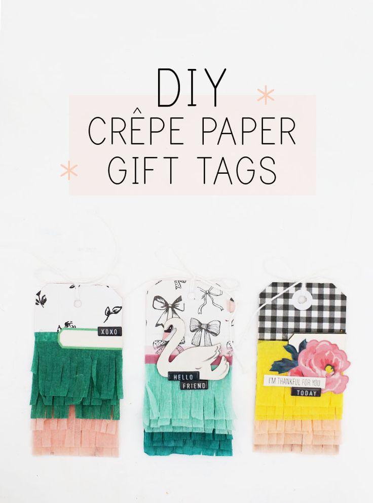 DIY crepe paper gift tags
