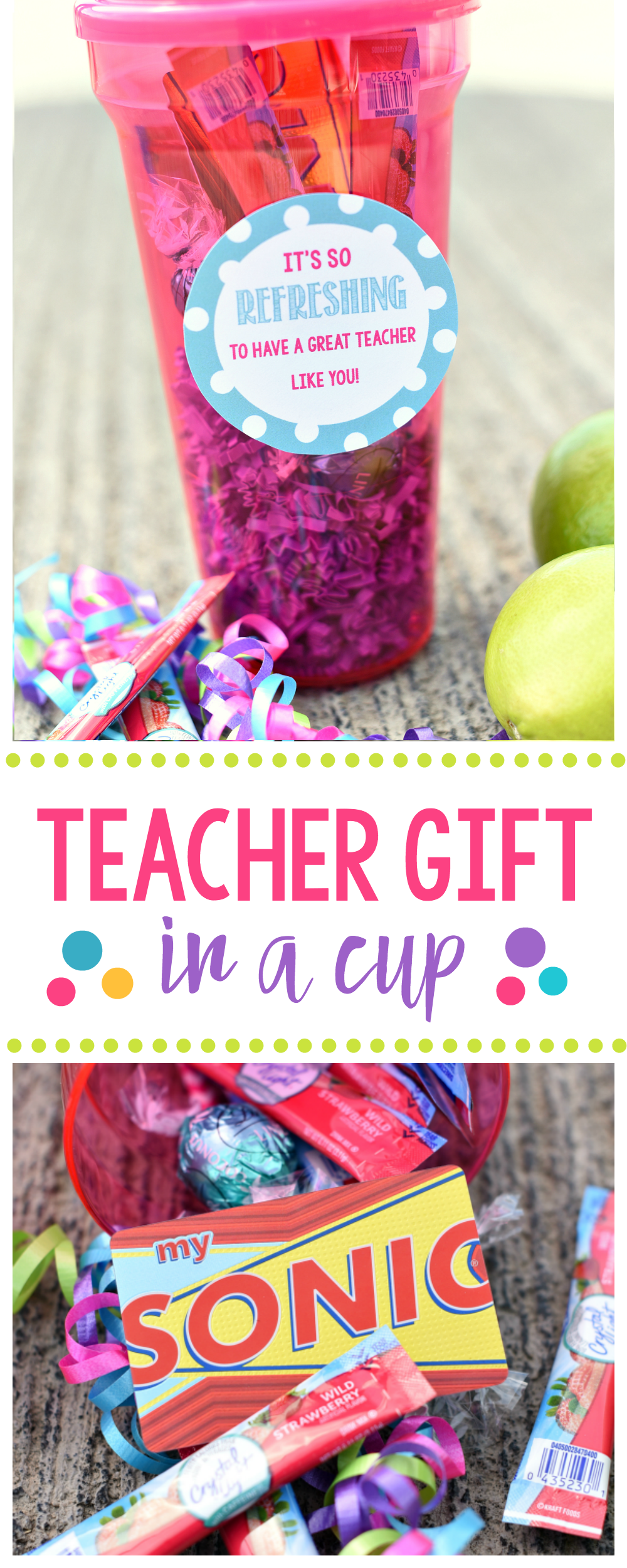 Refreshing and Fun Teacher Gift in a Cup