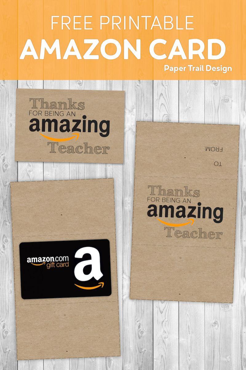 Free Printable Amazon Teacher Gift Card Holder - Paper Trail Design