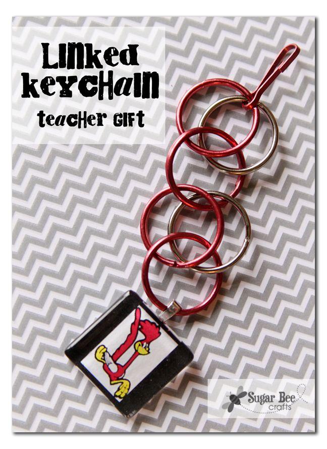 Linked Keychain with Charm   Skip To My Lou #teacher #appreciation #gift #idea