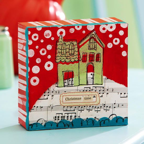 Your friends will love this Christmas canvas! Try making it this season: www.bhg...