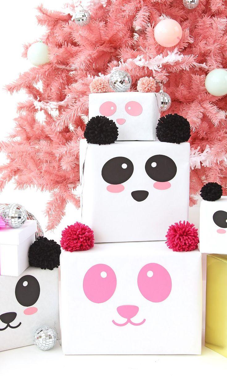 DIY Panda Gift Wrap On Keiko LynnMini Holiday Present Cakes On A Subtle RevelryM...