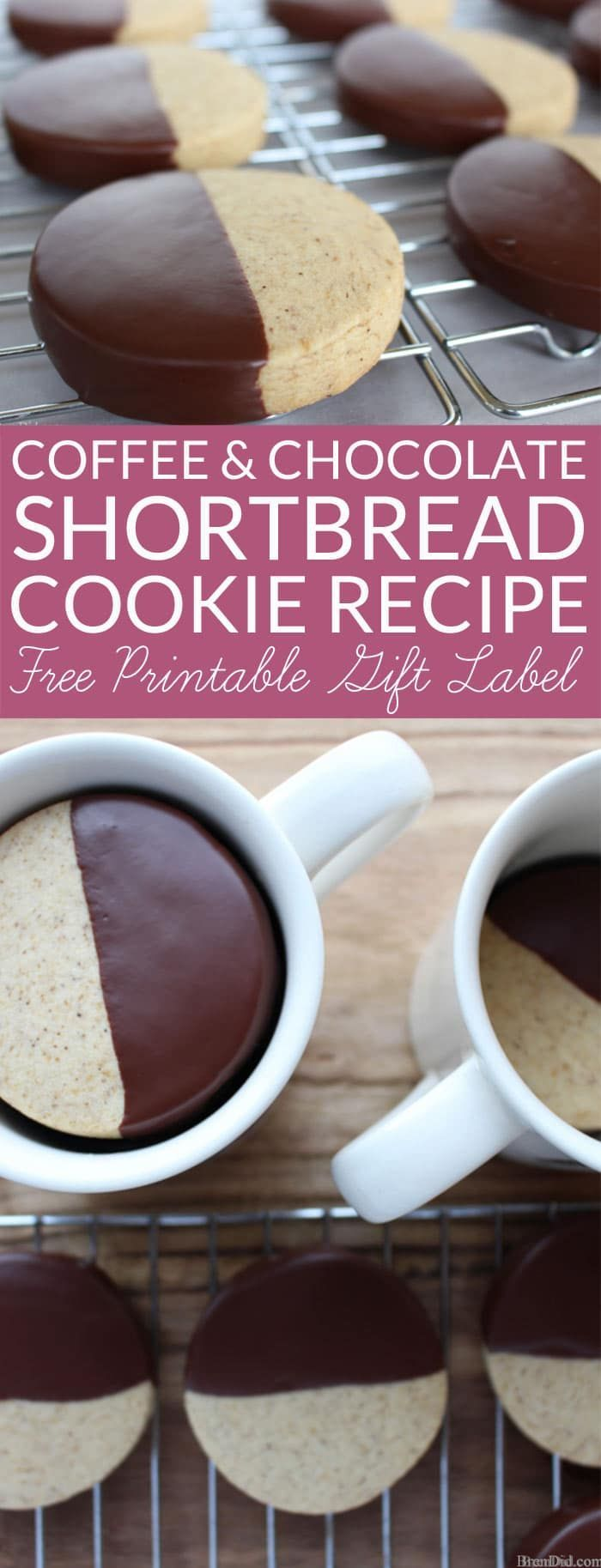 Coffee & Chocolate Shortbread Cookie Recipe with Free Gift Tags