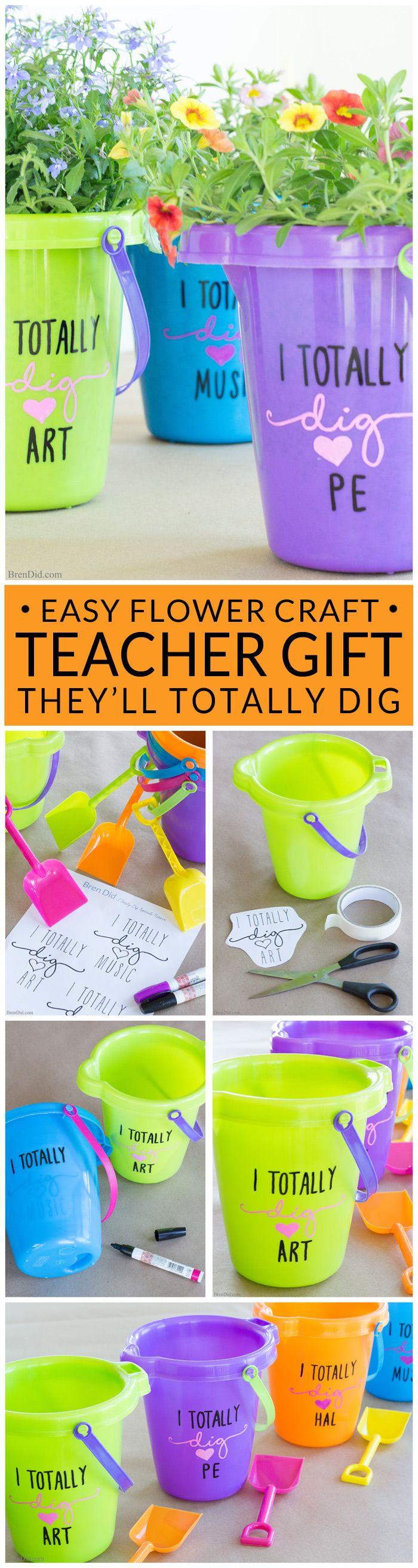 Easy & Affordable Teacher Appreciation Gift Idea: Flower Pails!