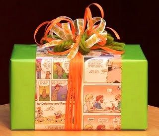 Creative gift wrapping ideas - the comic section of the newspaper for kids or ki...