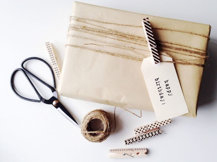 How to transform a boring brown paper package with five modern gift wrapping ide...