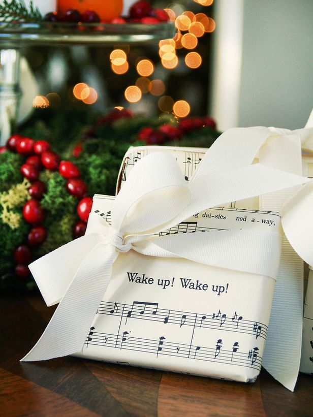 Love this idea. Sheet music wrapping paper.