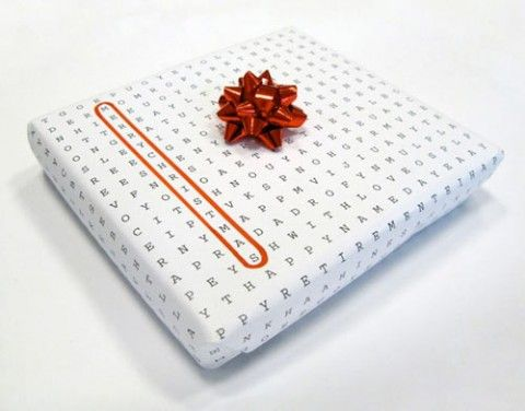 Word puzzle wrapping paper