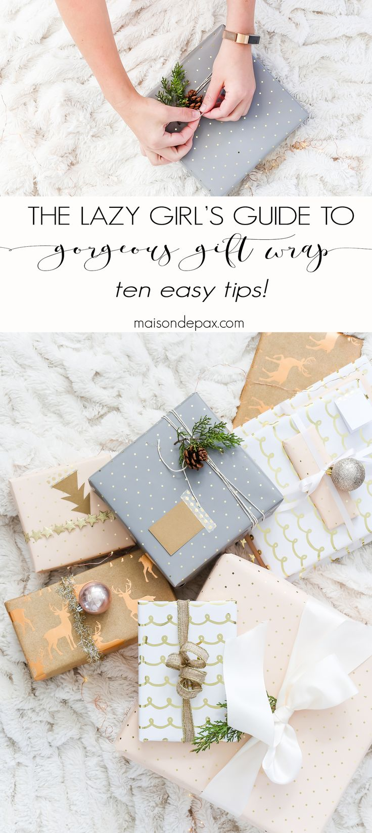 easy gift wrapping ideas: 10 tips for making gorgeous gifts fast #christmasprese...